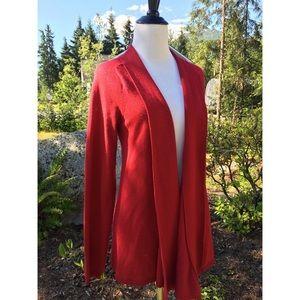 Ann Taylor Loft Red Open Knit Long Draped Cardigan